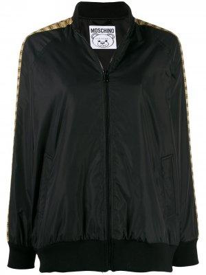 Куртка-бомбер с графичным принтом Moschino. Цвет: черный