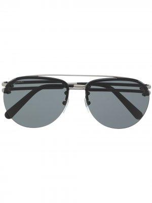 Солнцезащитные очки-авиаторы Bvlgari. Цвет: черный