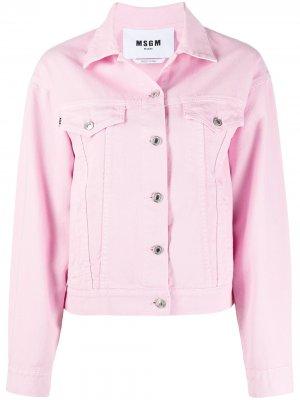 Джинсовая куртка с логотипом MSGM. Цвет: розовый