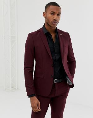 Бордовый однобортный приталенный пиджак Avail London. Цвет: красный