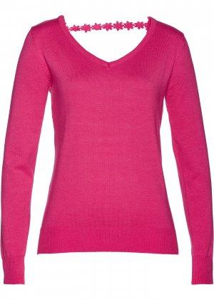 Пуловер с вырезами bonprix. Цвет: ярко-розовый