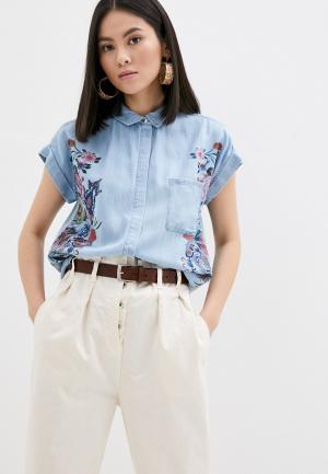 Рубашка джинсовая Desigual. Цвет: голубой
