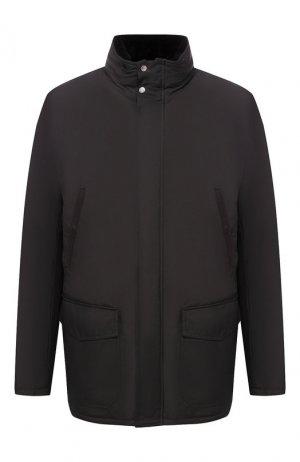 Утепленная куртка на молнии с капюшоном Andrea Campagna. Цвет: чёрный