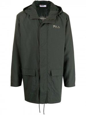 Куртка с капюшоном и логотипом Fila. Цвет: зеленый