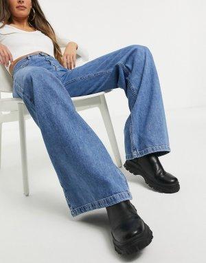 Синие широкие джинсы в стиле 90-х -Синий Stradivarius