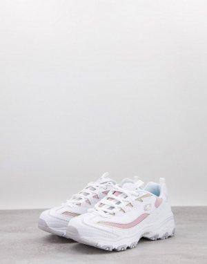 Бело-розовые кроссовки с эффектом омбре DLites-Белый Skechers