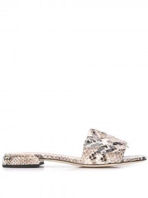 Сандалии со змеиным принтом Alberto Gozzi. Цвет: нейтральные цвета