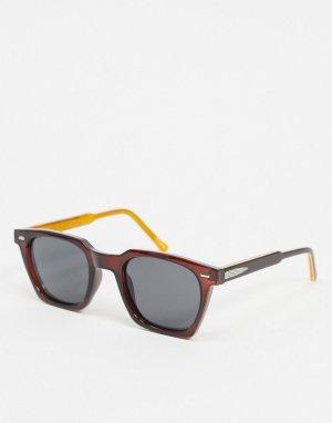 Коричневые солнцезащитные очки в квадратной оправе Block Chain-Коричневый Spitfire