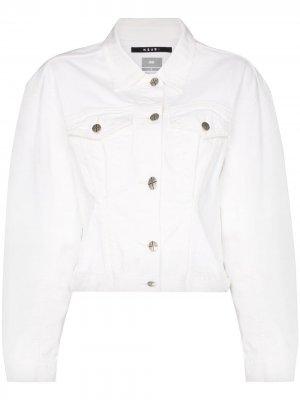 Укороченная джинсовая куртка Ksubi. Цвет: белый