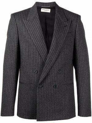 Двубортный пиджак в тонкую полоску Saint Laurent. Цвет: серый