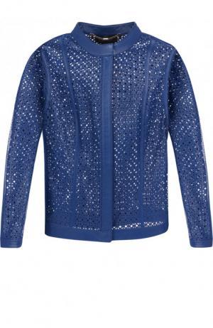 Однотонная кожаная куртка с перфорированием Escada. Цвет: синий