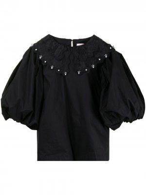 Embellished bib collar blouse BAPY BY *A BATHING APE®. Цвет: черный