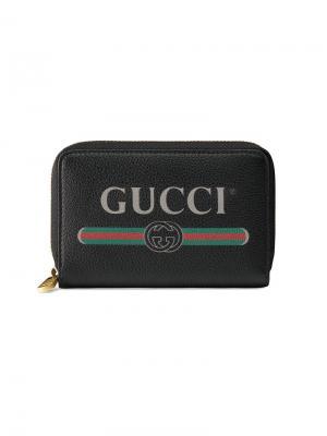 Визитница на молнии с принтом логотипа Gucci. Цвет: черный