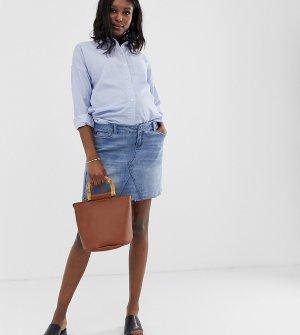 Джинсовая мини-юбка со съемным поясом Maternity-Синий Bandia