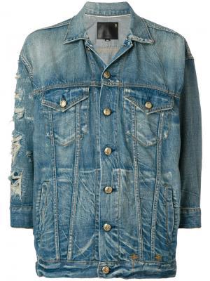 Джинсовая куртка с рваными деталями R13. Цвет: синий