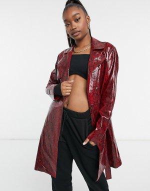 Удлиненная куртка из искусственной кожи с рисунком под королевскую кобру Blank NYC-Красный NYC