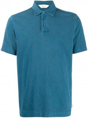 Рубашка-поло с выцветшим эффектом Z Zegna. Цвет: синий