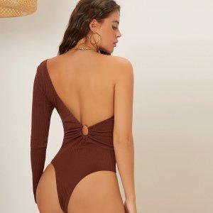Боди на одно плечо с открытой спиной SHEIN. Цвет: ржавый коричневый