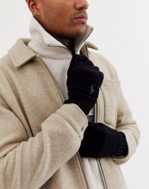 Черные шерстяные перчатки -Черный Polo Ralph Lauren