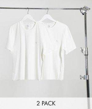 Комплект из 2 белых футболок с круглой горловиной и логотипом на груди CK One-Белый Calvin Klein