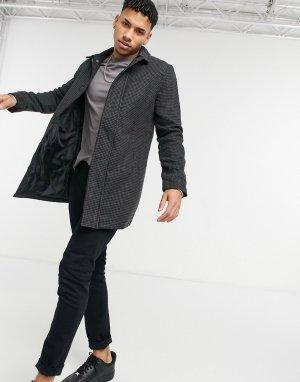 Черная куртка-макинтош в клетку -Черный цвет Brave Soul