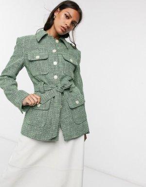 Зеленая твидовая куртка с поясом -Зеленый & Other Stories