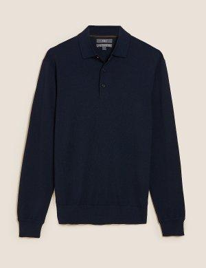 Рубашка-поло из шерсти мериноса с длинным рукавом M&S Collection. Цвет: темно-синий