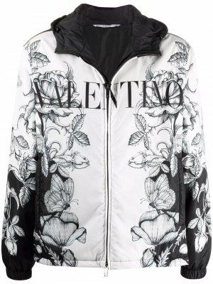 Куртка с капюшоном и цветочным принтом Valentino. Цвет: черный