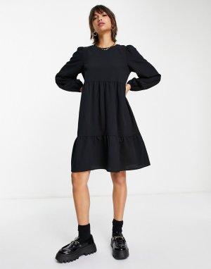 Черное ярусное платье мини с присборенной юбкой -Черный цвет Vila