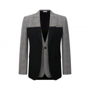 Шерстяной пиджак Alexander McQueen. Цвет: серый