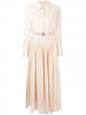 Платье-рубашка с плиссированной юбкой Jonathan Simkhai. Цвет: белый