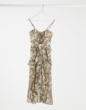 Платье миди с запахом и звериным принтом -Мульти Bardot