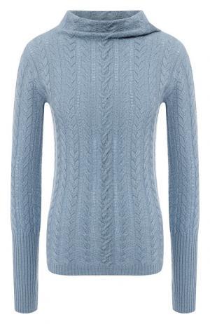 Кашемировый пуловер фактурной вязки Loro Piana. Цвет: голубой