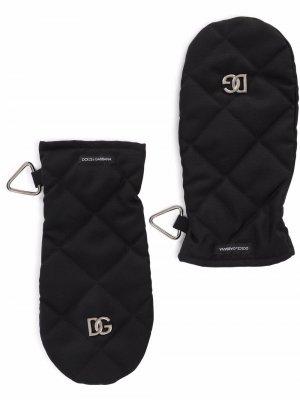 Стеганые варежки с логотипом Dolce & Gabbana. Цвет: черный