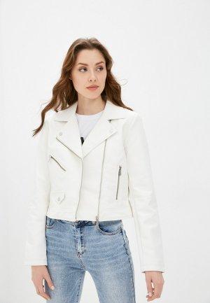 Куртка кожаная Only. Цвет: белый