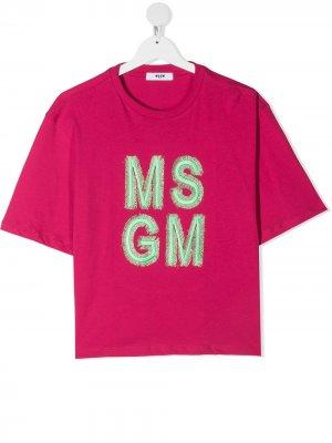 Футболка с вышитым логотипом Msgm Kids. Цвет: розовый