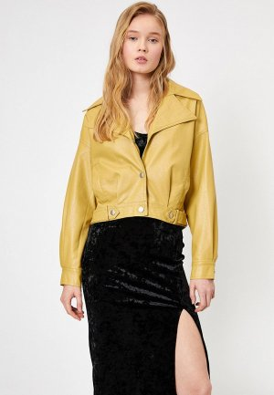 Куртка кожаная Koton. Цвет: желтый
