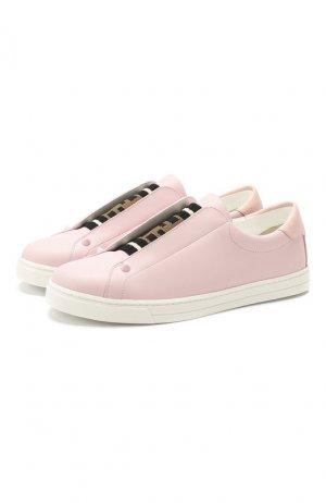 Кожаные кеды Fendi. Цвет: светло-розовый