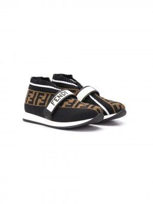 Слипоны с логотипом FF Fendi Kids. Цвет: черный