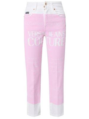 Укороченные джинсы прямого кроя VERSACE JEANS COUTURE