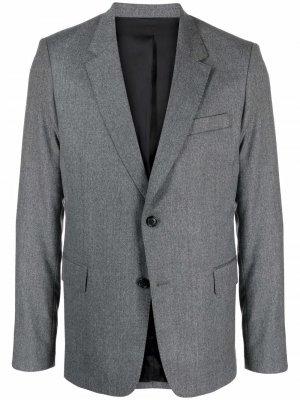 Однобортный пиджак строгого кроя AMI Paris. Цвет: серый