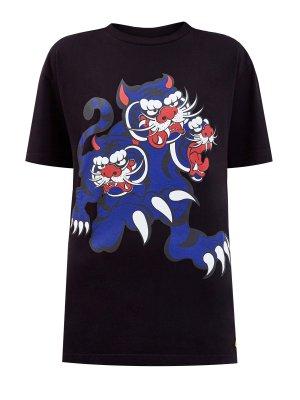 Хлопковая футболка с эксклюзивным принтом Three Tigers KENZO. Цвет: черный