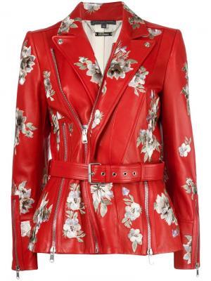 Байкерская куртка с цветочной вышивкой Alexander McQueen. Цвет: красный