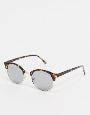Золотисто-черепаховые солнцезащитные очки -Коричневый ASOS DESIGN