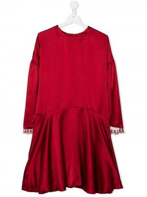Платье-трапеция с длинными рукавами Chloé Kids. Цвет: красный