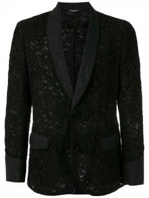 Кружевной пиджак Dolce & Gabbana. Цвет: черный