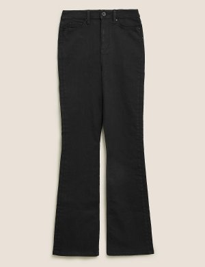 Расклешенные джинсы с высокой талией M&S Collection. Цвет: черный