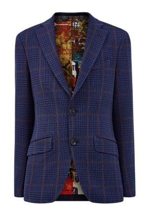 Пиджак из фактурного хлопка с контрастным подкладом ETRO. Цвет: синий