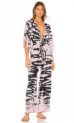 Пляжный костюм с широкими брюками breezy Young Fabulous & Broke. Цвет: голубой, розовый