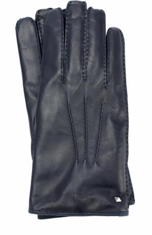 Кожаные перчатки Garavani с кашемировой подкладкой Valentino. Цвет: темно-синий